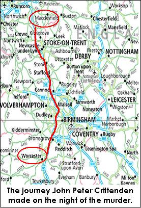 Mappa del percorso intrapreso dal killer
